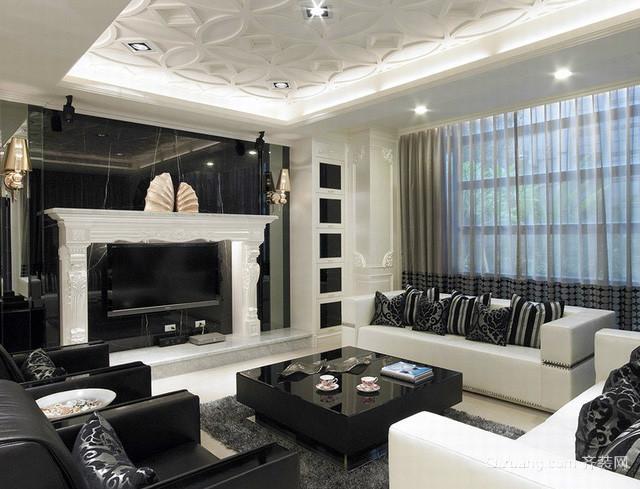 现代简约风格独栋别墅奢华客厅装修效果图