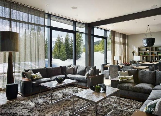 180平米现代简约风格独栋别墅客厅装修效果图