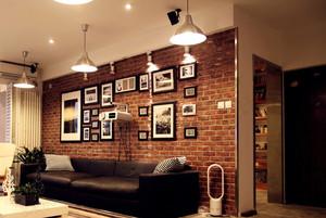 新古典小客厅仿古砖背景墙装修贴图