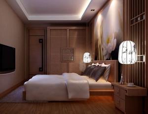 30平米中式复古风格卧室护眼台灯装修效果图