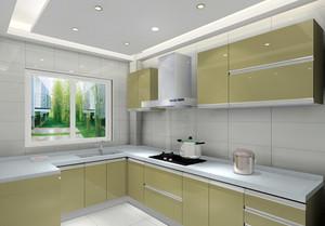 都市现代大户型抹茶绿橱柜设计效果图