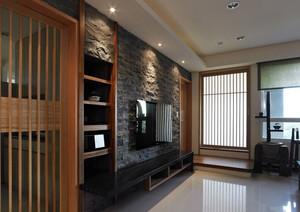 精致大户型客厅仿古砖电视背景墙贴图