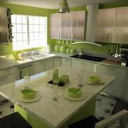 果绿色清新风格现代化整体厨房装修效果图