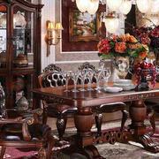 美式深色系餐厅桌椅家具装饰
