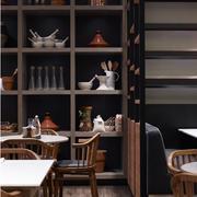 100平米深色调咖啡店装修效果图