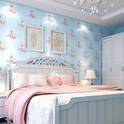 卧室简约浅蓝色系壁纸装饰