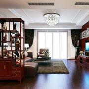 中式两室一厅老房客厅改造装修效果图