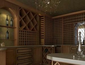 2016深色调墅酒窖设计效果图
