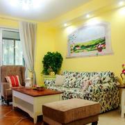 韩式暖色系客厅背景墙装饰