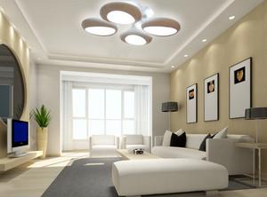 100平米现代简约风格浅色系客厅筒灯装修图
