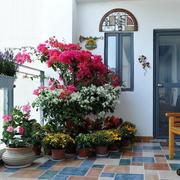 美式简约风格露台小花坛装饰