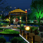 绚丽高级小区公园led灯带装修效果图