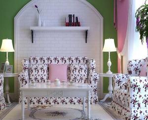 120平米韩式清新小碎花装饰客厅效果图