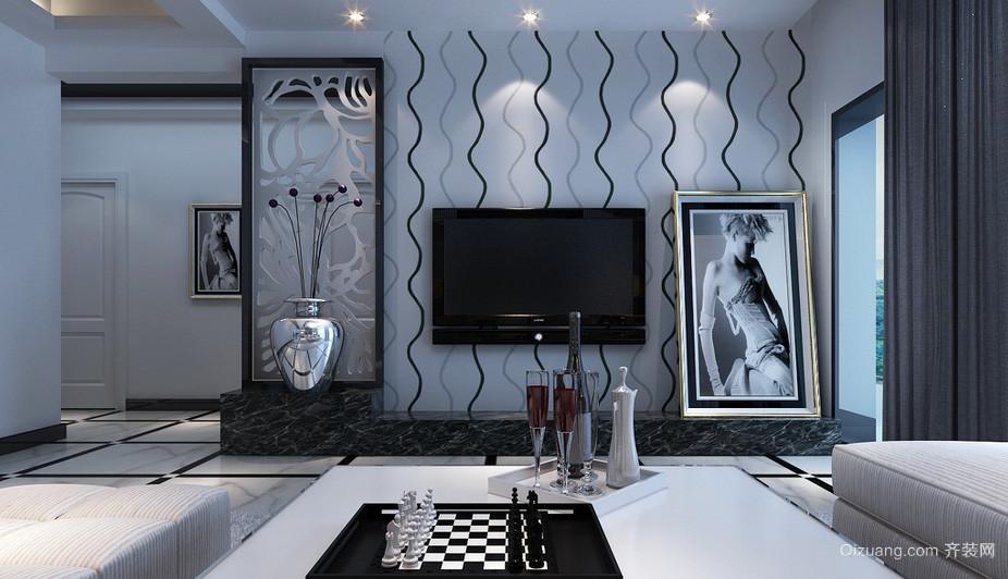 摩登现代大户型客厅黑白装饰画图片