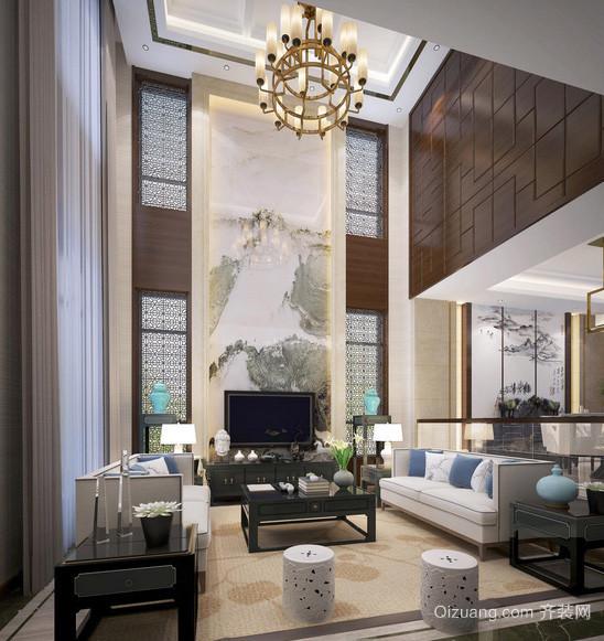 大型别墅现代化中式风格客厅装修效果图