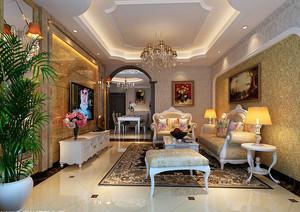 高贵欧式风格小别墅客厅吊顶装修效果图