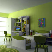 简约复式楼儿童房绿色背景效果图片