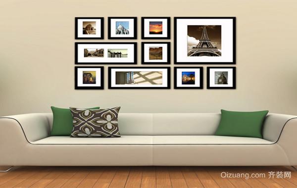 别墅暖色调照片墙设计效果图