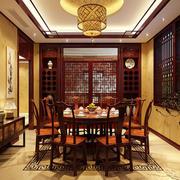 中式暖色系餐厅效果图