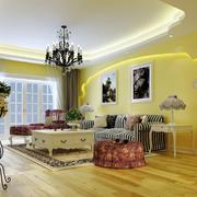 明亮黄色简欧97平米客厅吊顶装修效果图