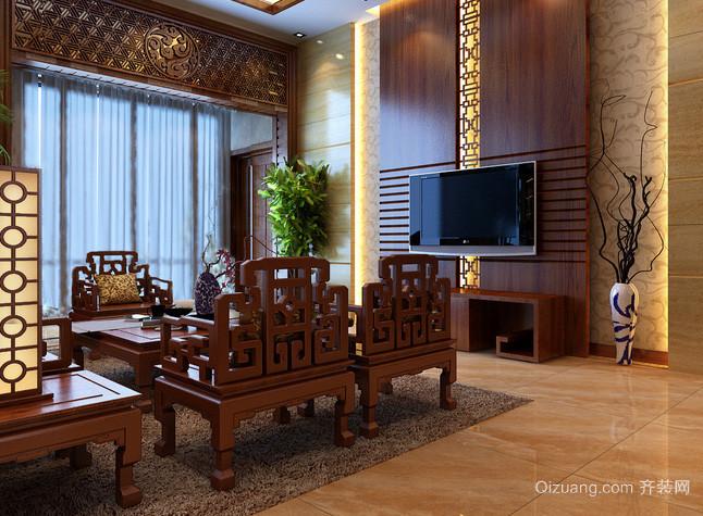 大型别墅中式家装客厅精致原木家具装修效果图