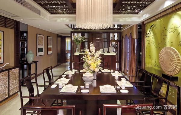 大型别墅中式风格深色系原木餐厅装修效果图