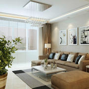 简约朴素单身公寓房子客厅装修效果图