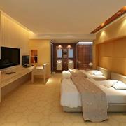 欧式暖色系酒店卧室装饰