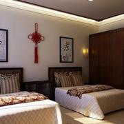 中式风格双人间老人公寓卧室装修效果图