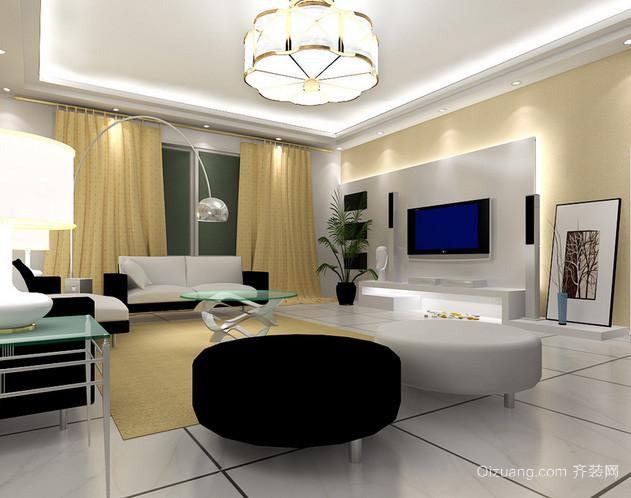 两室一厅现代简约风格客厅Led筒灯展示图