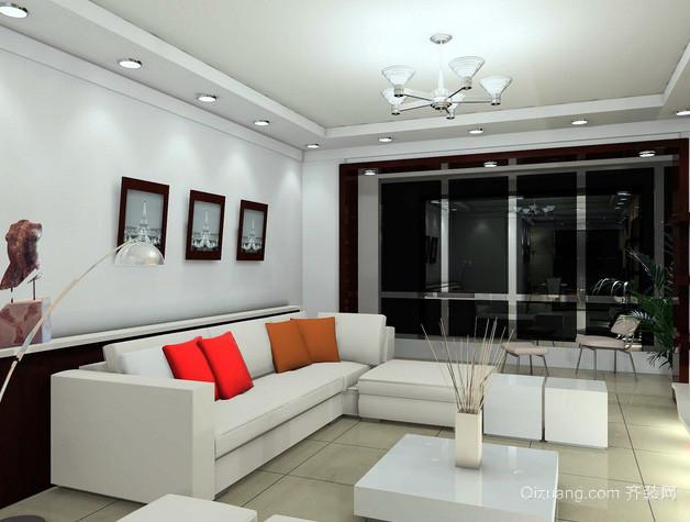 跃层现代简约风格客厅筒灯装饰图