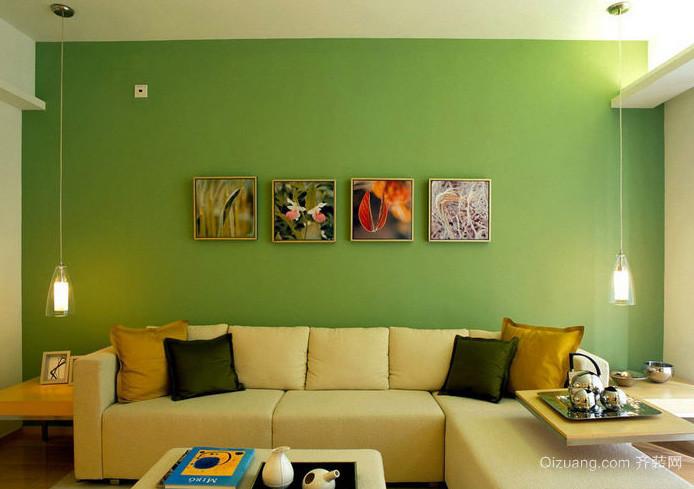 温馨都市小户型客厅绿色背景装修图片