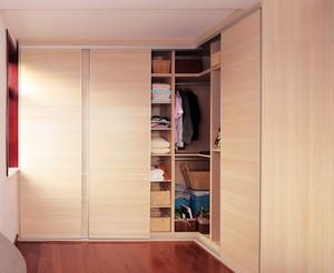 复式楼暖色调整体衣柜设计效果图