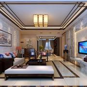 新中式355平米别墅客厅装修效果图