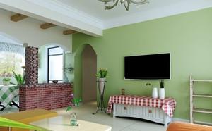 田园风格小家庭电视绿色背景墙装修图片
