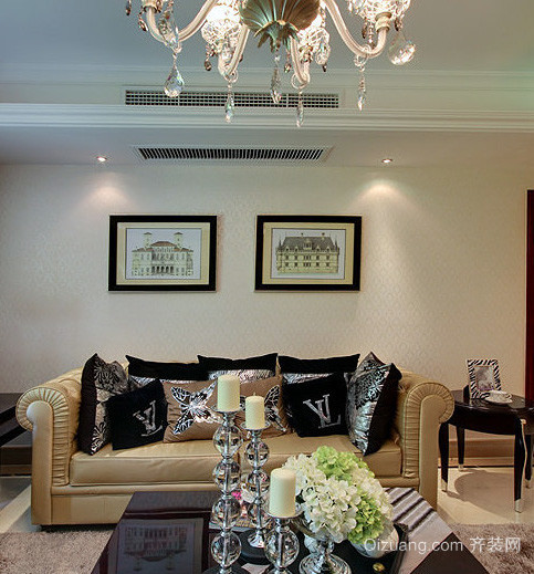 大型洋房歐式風格白色系臥室床飾家具裝修效果圖