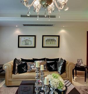小户型单身公寓客厅欧美式沙发家具装修图