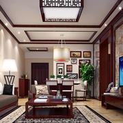 新中式深色原木客厅背景墙装饰