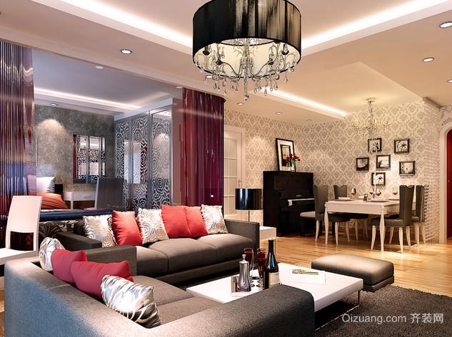 120平米后现代风格精致客厅筒灯装修效果图