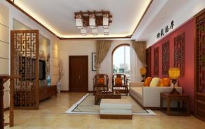 中式老年公寓房子客厅装修效果图