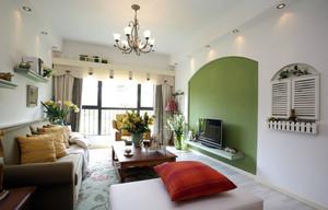 2016简约田园客厅绿色背景墙装修图片