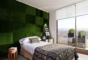 时尚小公寓卧室个性绿色背景墙图片