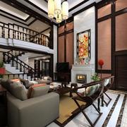 大型中式风格高挑家装客厅装修效果图