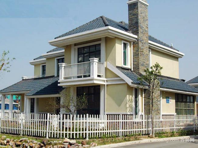 欧式简约风格两层小别墅栅栏装修效果图