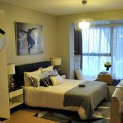 2016现代一居室单身公寓卧室装修效果图