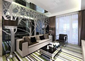 后现代风格70平米公寓客厅装修效果图