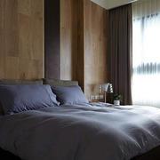 日式卧室原木背景墙装饰