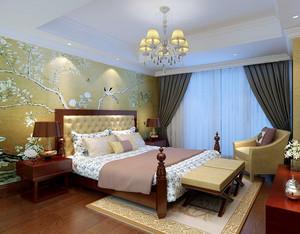 30平米中式简约风格卧室壁纸装修效果图