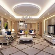 简欧风格复式楼客厅吊顶装修效果图