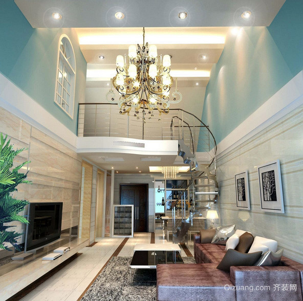 清新时尚小复式楼客厅装修效果图